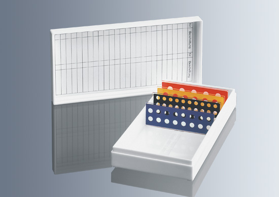Caja de depósito para portaobjetos